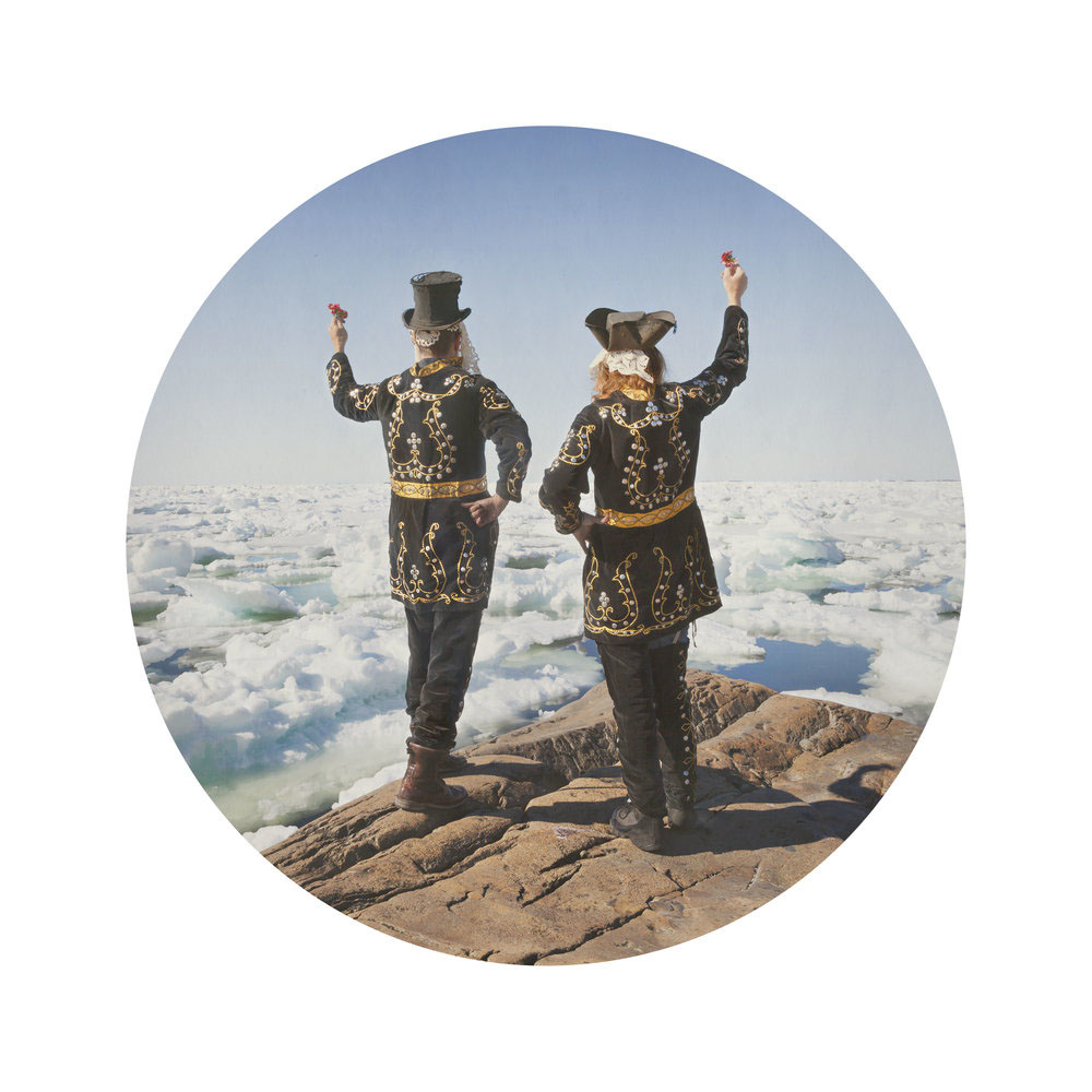 Kahn/Selesnick - Two Mummers, 2017, archival inkjet print, 10 inch diameter (22 by 17 inch paper size), edition of 5