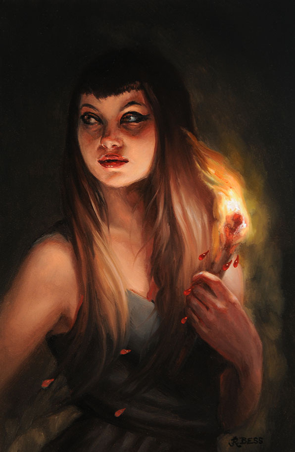 Rachel Bess - Blood Fire, 2016, oil on Dibond, 6 by 4 inches