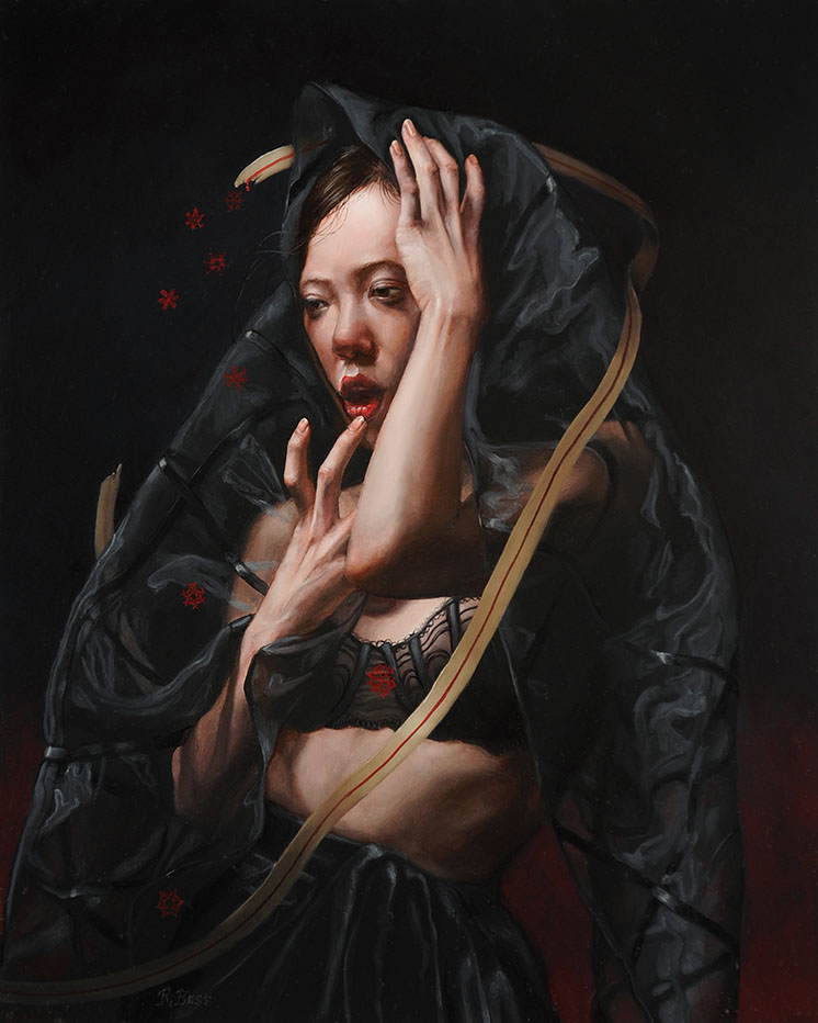Rachel Bess - Bloodflakes Spilling from a Torn Lifeline, 2017, oil on Dibond, 10 by 8 inches