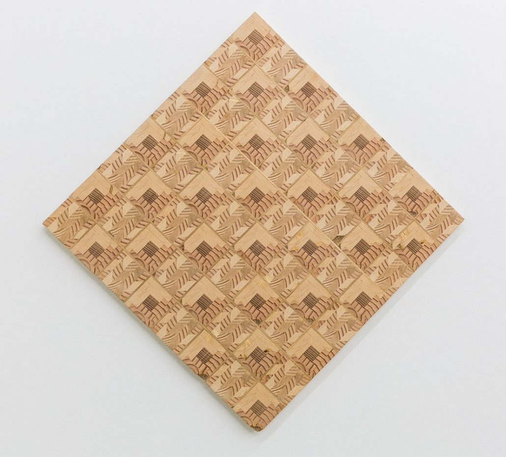 Ato Ribeiro - Log Cabin Checkers Board, 2017, repurposed wood, wood glue, coffee grounds, indigo dyed receipts, 24 by 24 by 1 inches
