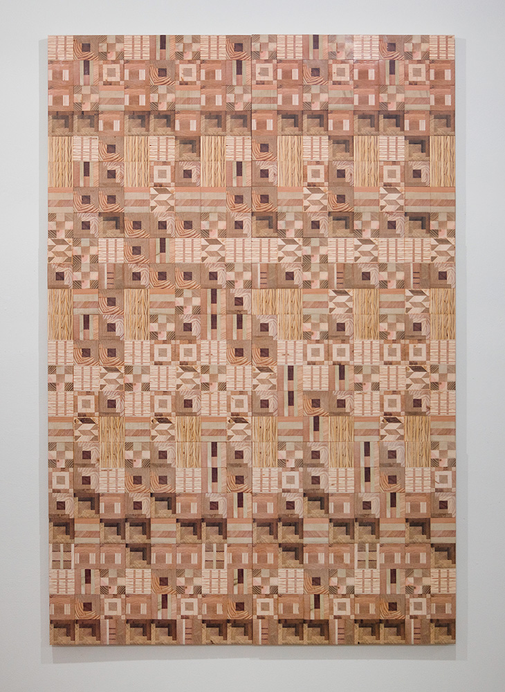 Ato Ribeiro - Home Coming, 2017, repurposed wood, wood glue, 72 by 48 by 1.25 inches