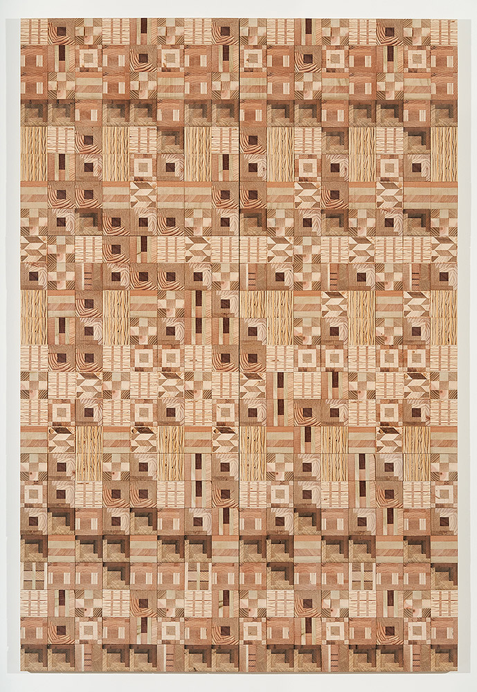 Ato Ribeiro - Home Coming (SOLD), 2017, repurposed wood, wood glue, 72 by 48 by 1.25 inches