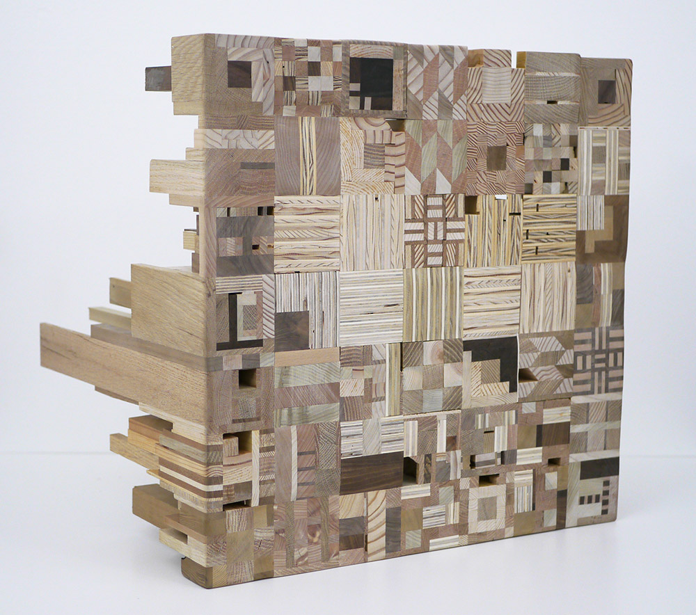 Ato Ribeiro - Sisala The Micro and Macro, 2020, repurposed wood, wood glue, 21 by 21 by 18.5 inches