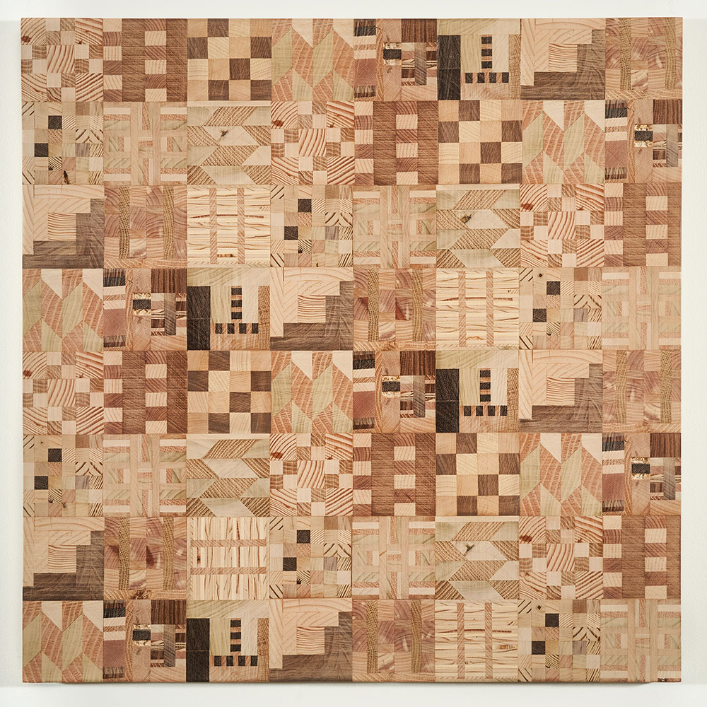 Ato Ribeiro - Untitled (Wooden Kente Quilt 10)(SOLD), 2018, repurposed wood, wood glue, 24 by 23.75 by 1 inches