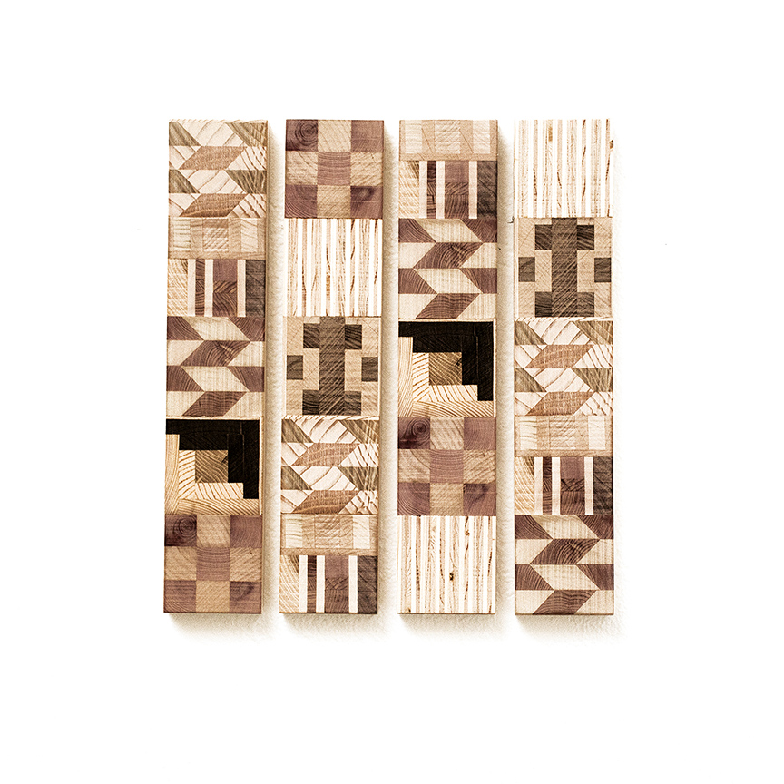 Ato Ribeiro - Untitled (Wooden Kente Quilt 11)(SOLD), 2018, repurposed wood, wood glue, 12 by 15 by 1 inches