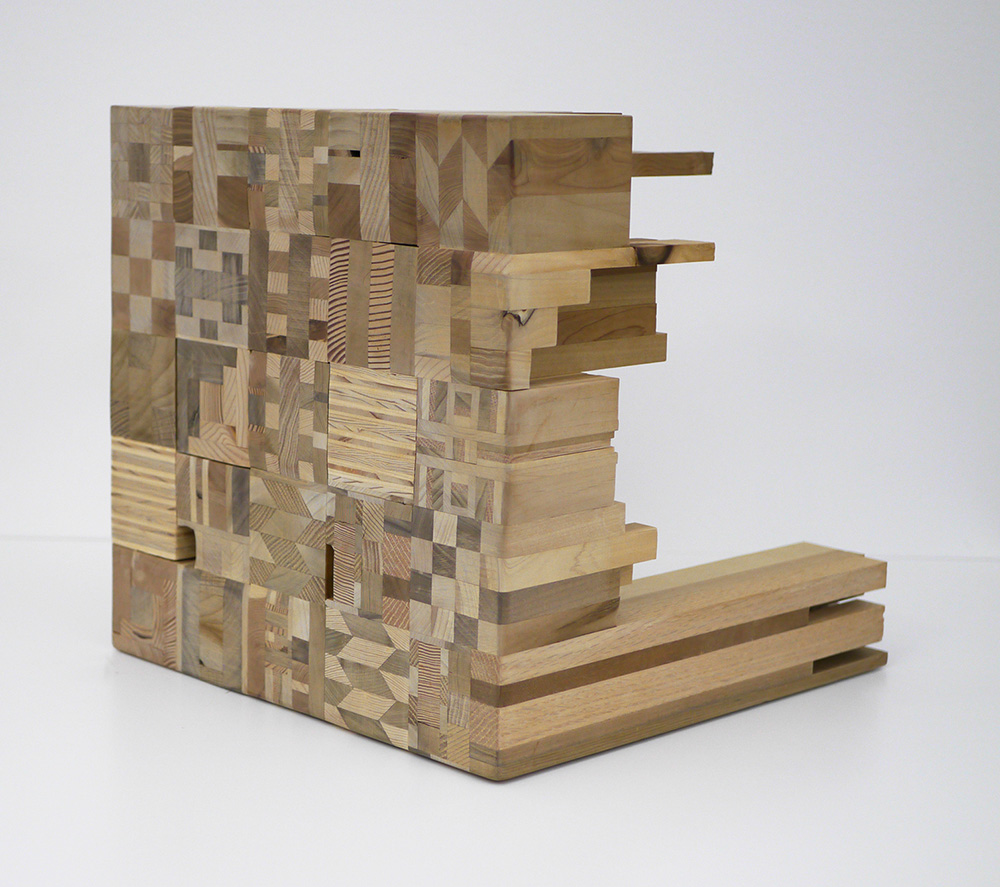 Ato Ribeiro - What a Preventer of Life-Loss, 2020, repurposed wood, wood glue, 15.25 by 15.25 by 18.25 inches