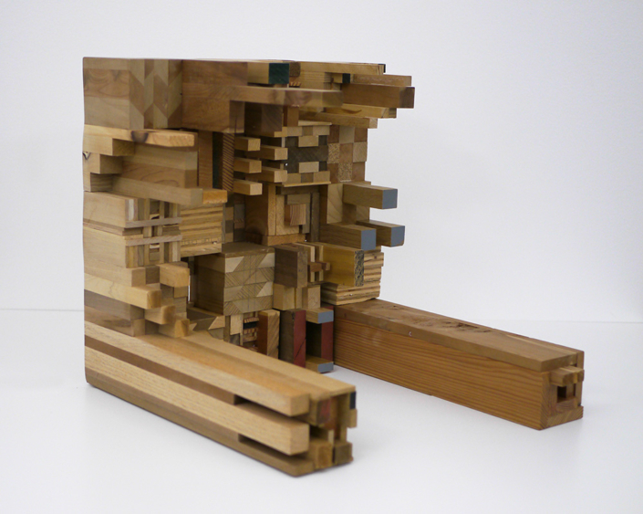 Ato Ribeiro - What a Preventer of Life-Loss (detail), 2020, repurposed wood, wood glue, 15.25 by 15.25 by 18.25 inches