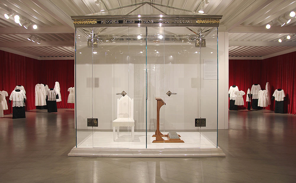 Trina McKillen - Bless Me Child For I Have Sinned, 2010-2018, glass, marble, wood, nails, metal, nickel-plated composite, linen, plexiglas, 102 by 94 by 58 inches