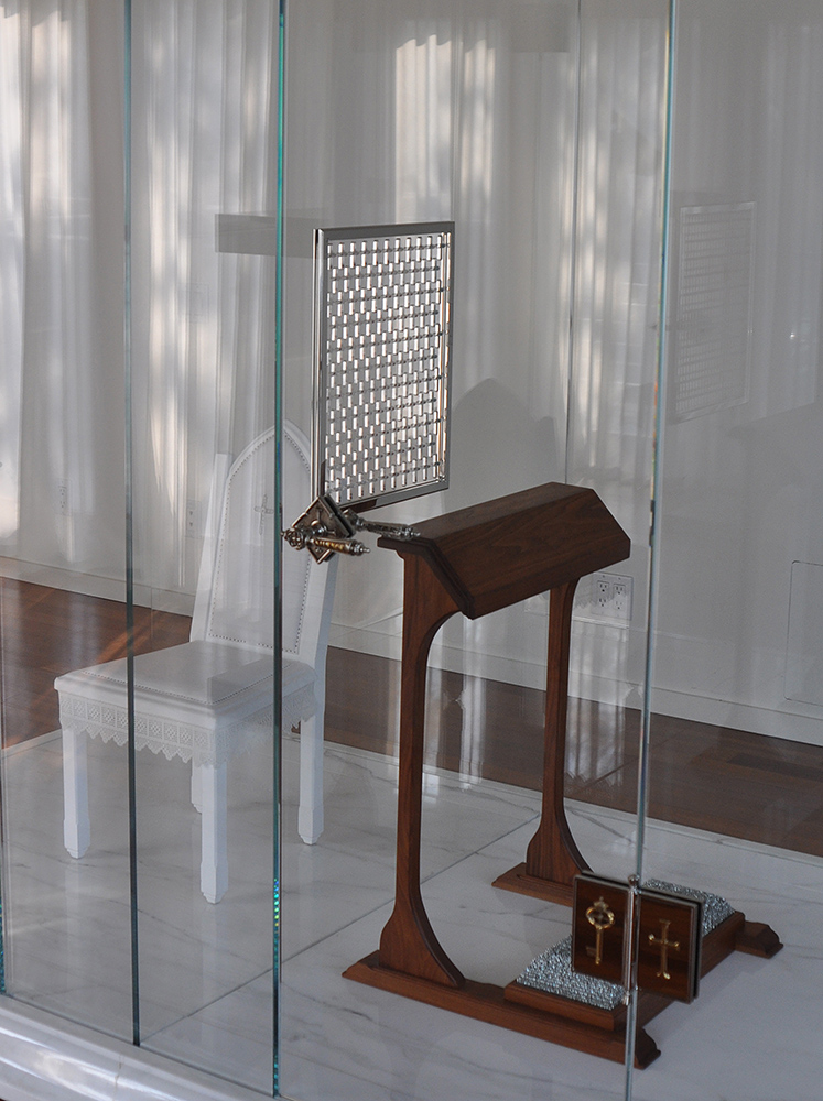 Trina McKillen - Bless Me Child For I Have Sinned (detail), 2010-2018, glass, marble, wood, nails, metal, nickel-plated composite, linen, plexiglas, 102 by 94 by 58 inches