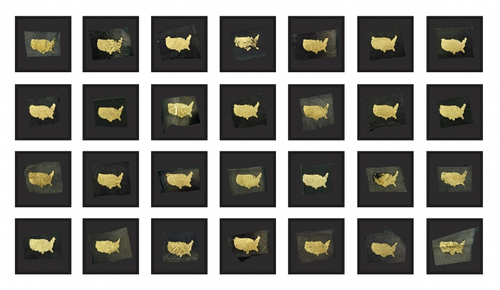 Sonya Clark - Care Taker, 2018, gold leaf, found leather, 28 pieces, dimensions vary, framed size: 11 by 11 inches each
