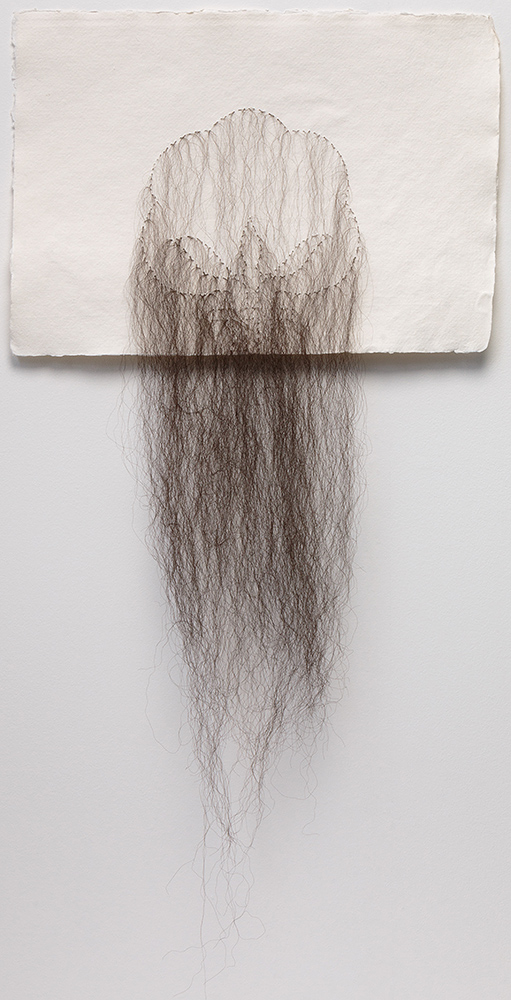 Sonya Clark - Cotton With Hair, 2017, Khadi paper, hair, 11.5 by 16 inches paper size