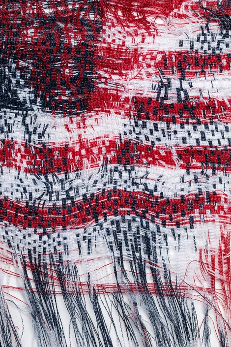 Sonya Clark - Interwoven (detail) (SOLD), 2016, unwoven and rewoven commercially printed flags, 6 by 6 inches unframed / 12 by 11.75 inches framed