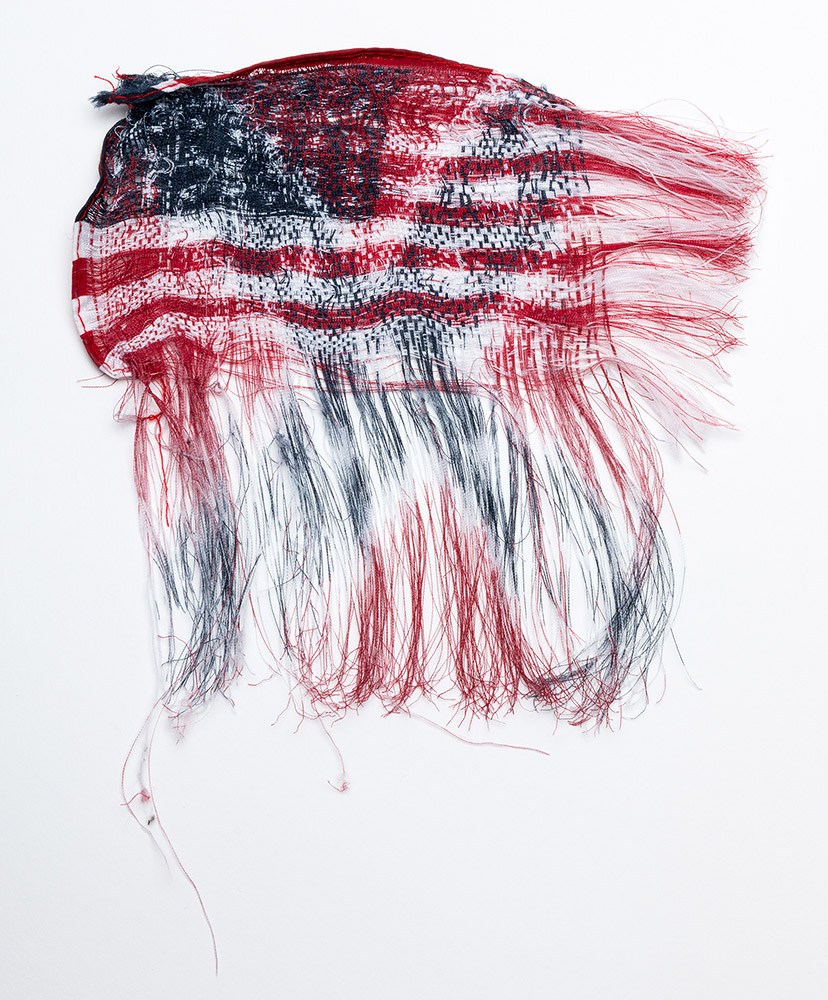 Sonya Clark - Interwoven (SOLD), 2016, unwoven and rewoven commercially printed flags, 6 by 6 inches unframed / 12 by 11.75 inches framed