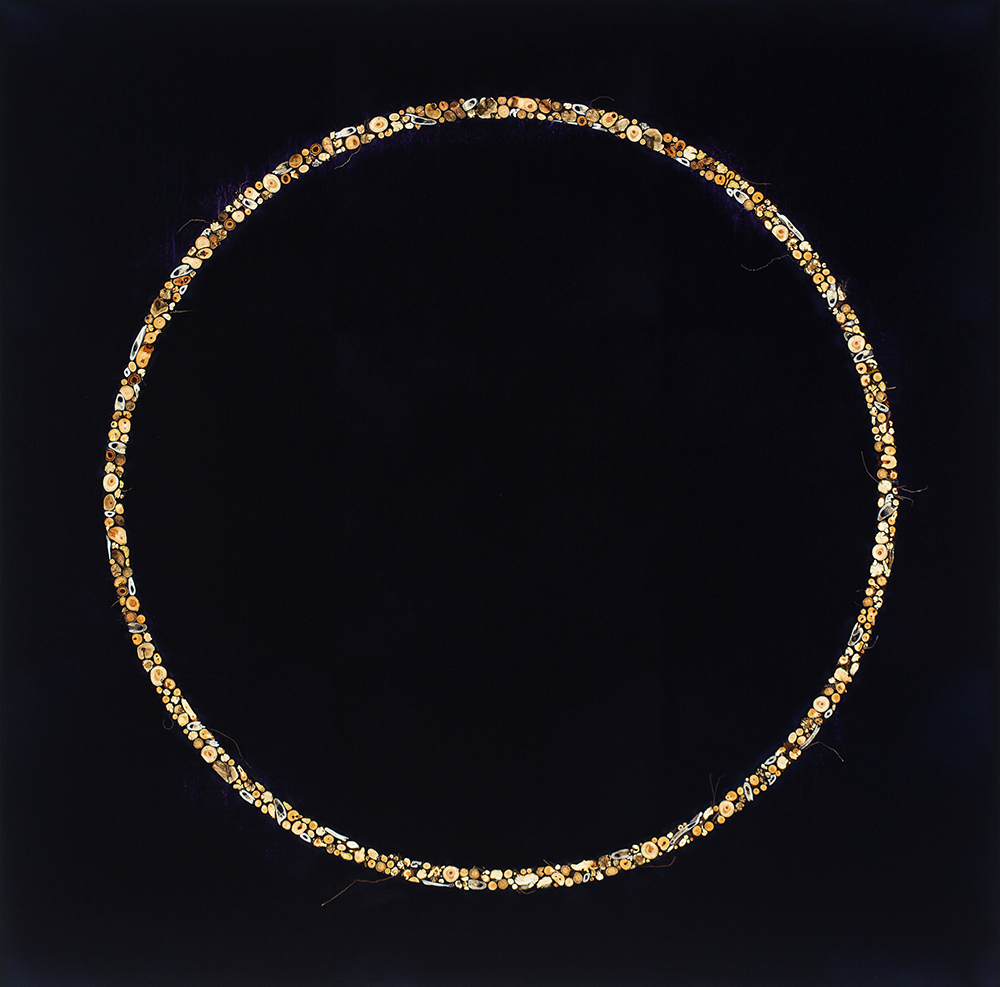 Mayme Kratz - Circle Dream 75 (SOLD), 2018, resin, deer bone and teeth, cottonwood and juniper berries, rabbit brush and snakeweed roots on panel, 48 by 48 inches