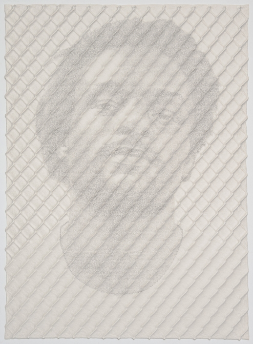 Ben Durham - Chain-link Fence Portrait (John) (SOLD), 2017, graphite text on handmade paper and steel chain-link fence, 65.25 by 49.5 inches framed