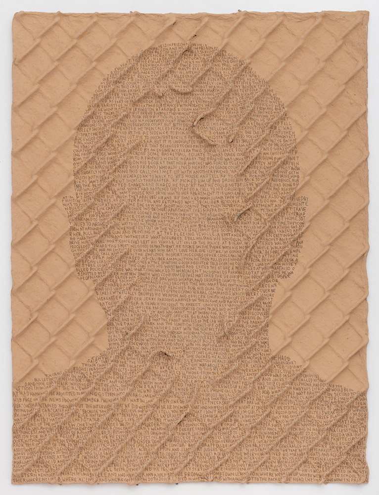 Ben Durham - (He) is in prison now... (SOLD), 2018, graphite text on handmade paper, hand-dug clay, and steel chain-link fence, 35 by 26 inches unframed