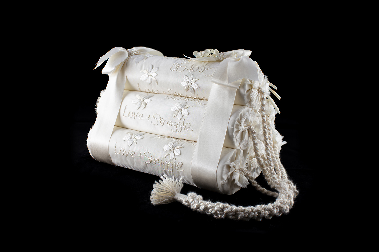 Mark Mitchell - Cracker Party, 2017, silk floss embroidery, silk taffeta, cotton buckram and reed, 9 by 6 by 6 inches (not including fuse)