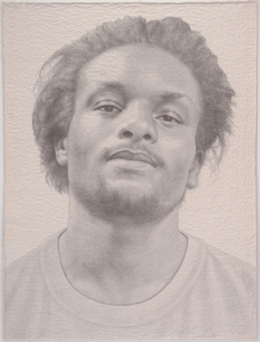 Ben Durham - John, 2017, graphite text on handmade paper, 63.5 by 49.5 inches framed