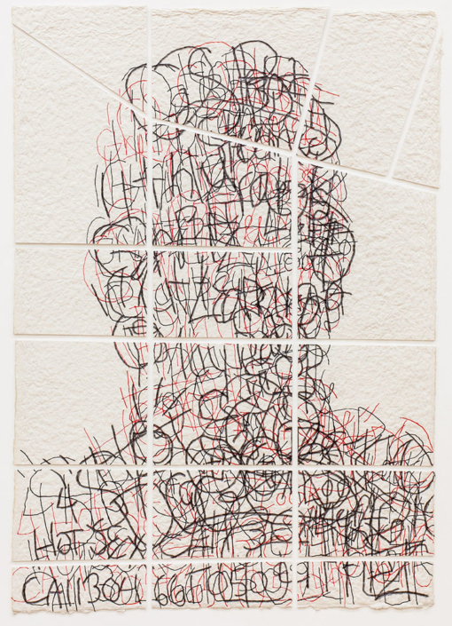 Ben Durham - Untitled 11 (Graffiti Map) (SOLD), 2011, ink and graphite on cut handmade paper, 28 x 20 inches unframed