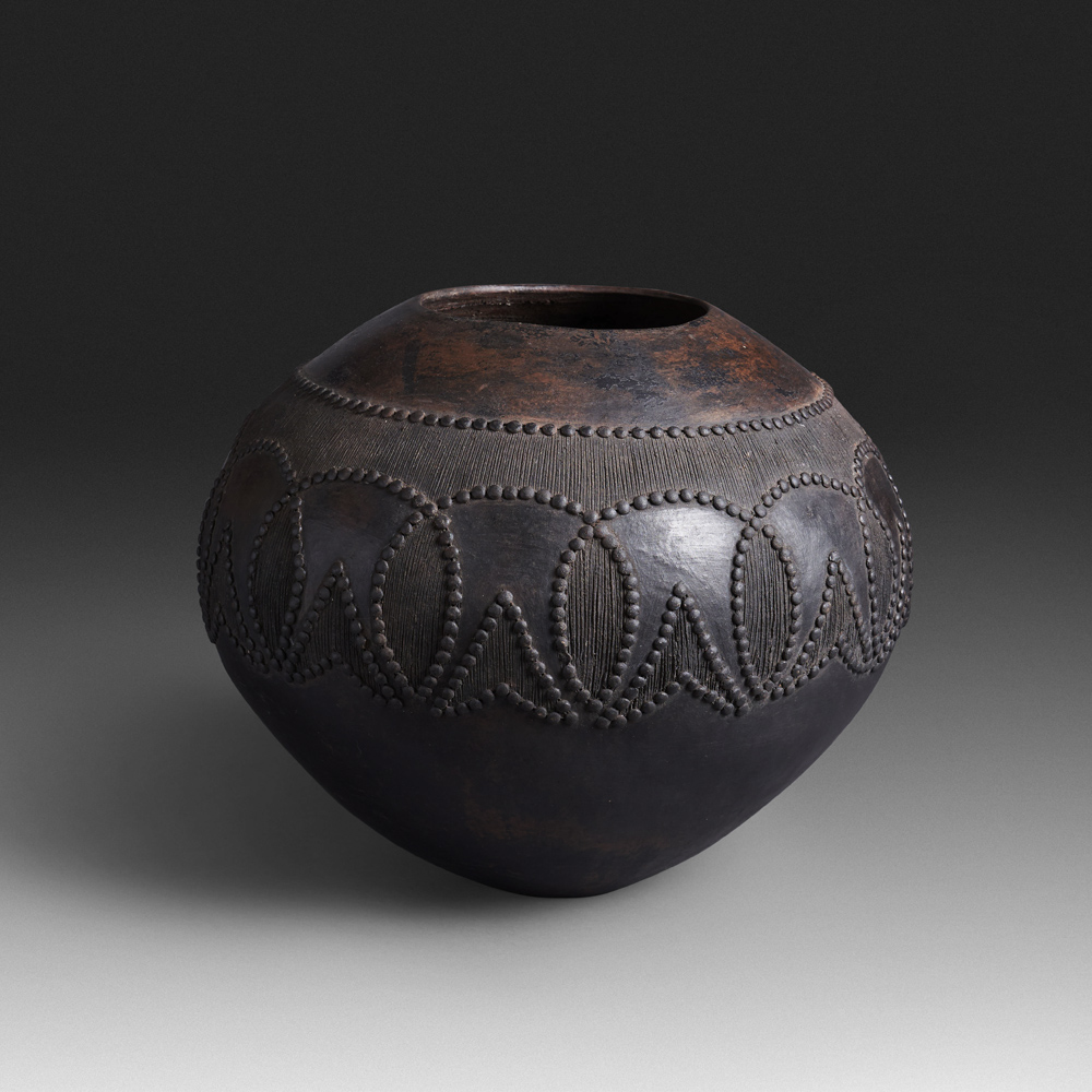 Mncane Nzuza - Ukhamba #19333 (SOLD), ceremonial beer-serving vessel, pit-fired hand-built earthenware with burnished surface, 12.5 by 14.5 inches diameter