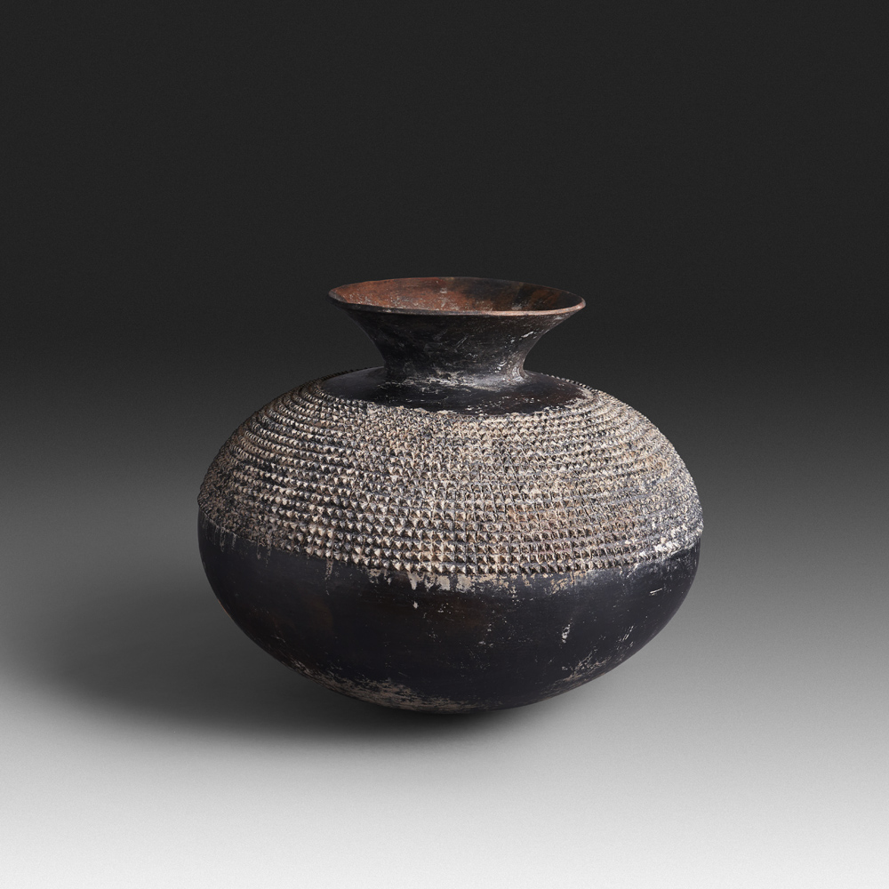 Mncane Nzuza - Uphiso #115 (SOLD), vessel for transporting liquids, pit-fired hand-built earthenware with burnished surface, 13 by 15 inches diameter