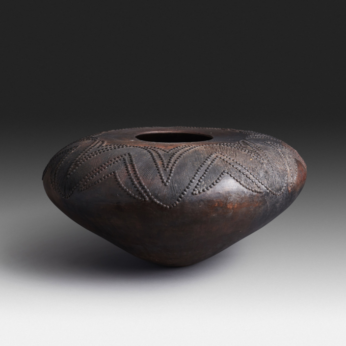 Mncane Nzuza - Ukhamba #118, ceremonial beer-serving vessel, pit-fired hand-built earthenware with burnished surface, 11 by 23 inches diameter
