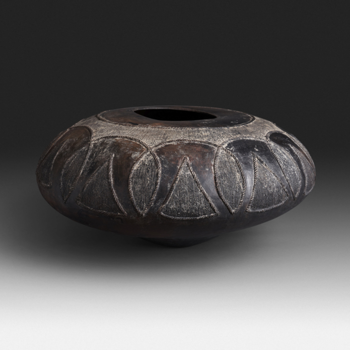 Mncane Nzuza - Ukhamba #117, ceremonial beer-serving vessel, pit-fired hand-built earthenware with burnished surface, 12 by 25 inches diameter