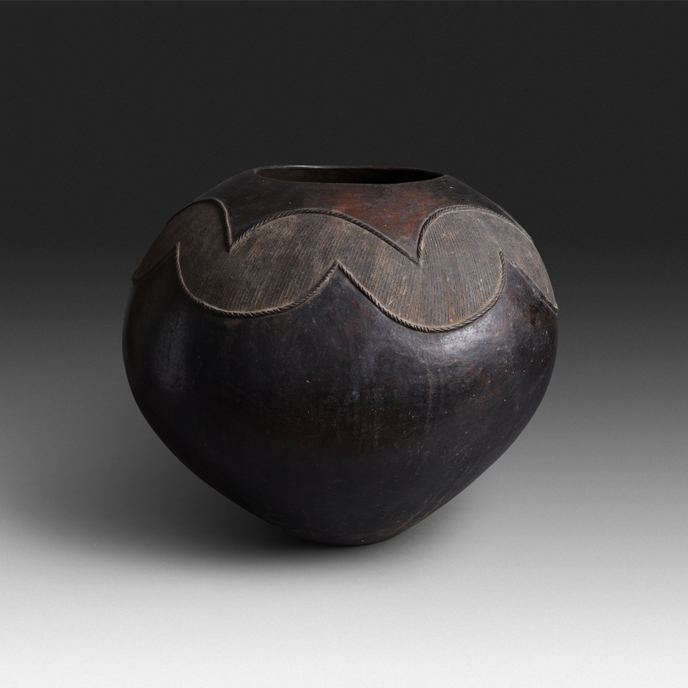 Mncane Nzuza - Ukhamba #19330 (SOLD), ceremonial beer-serving vessel, pit-fired hand-built earthenware with burnished surface, 16 by 19 inches diameter