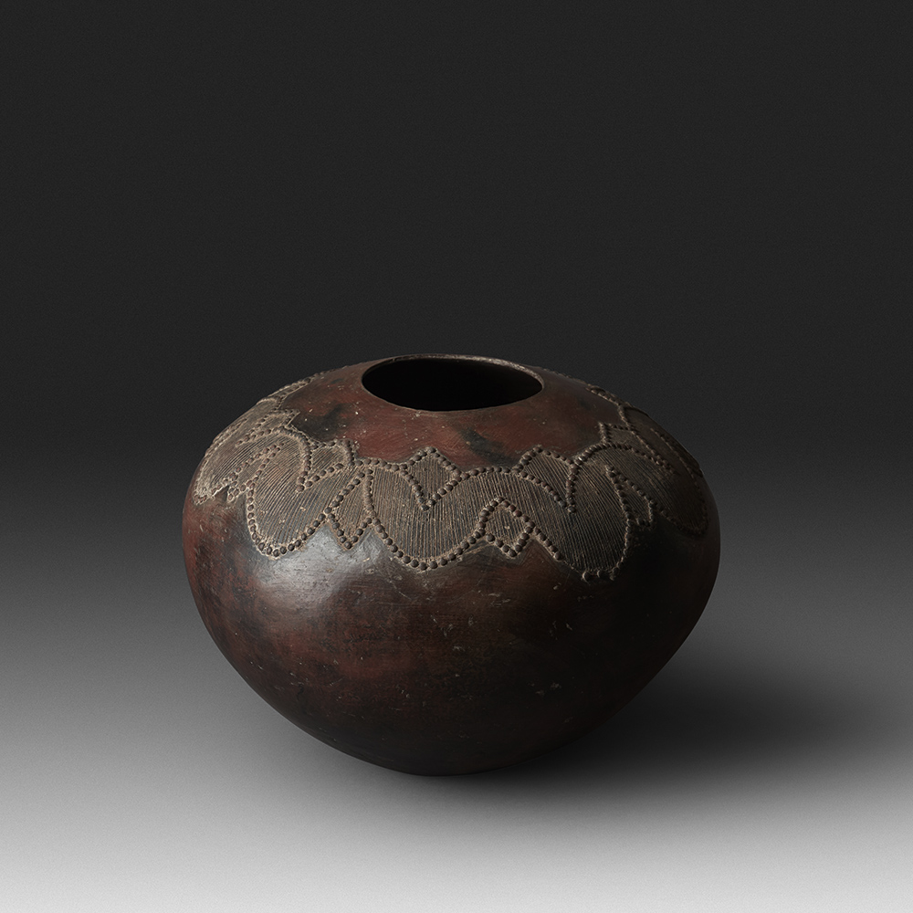 Mncane Nzuza - Ukhamba #101 (D2), ceremonial beer-serving vessel, pit-fired hand-built earthenware with burnished surface, 11.5 by 17.5 inches diameter