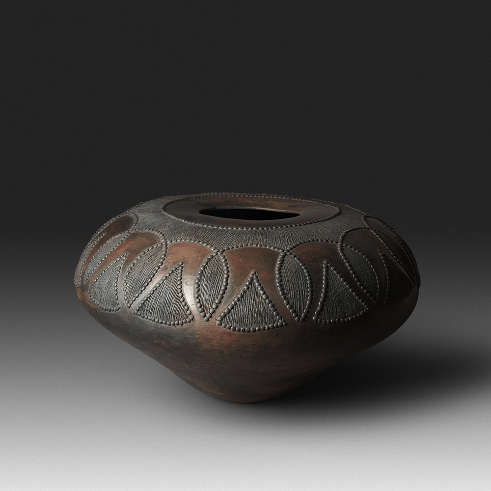 Mncane Nzuza - Ukhamba #102 (A1) (SOLD), ceremonial beer-serving vessel, pit-fired hand-built earthenware with burnished surface, 13.5 by 27.5 inches diameter