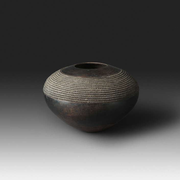 Mncane Nzuza - Ukhamba #103 (K1) (SOLD), ceremonial beer-serving vessel, pit-fired hand-built earthenware with burnished surface, 13 by 19 inches diameter