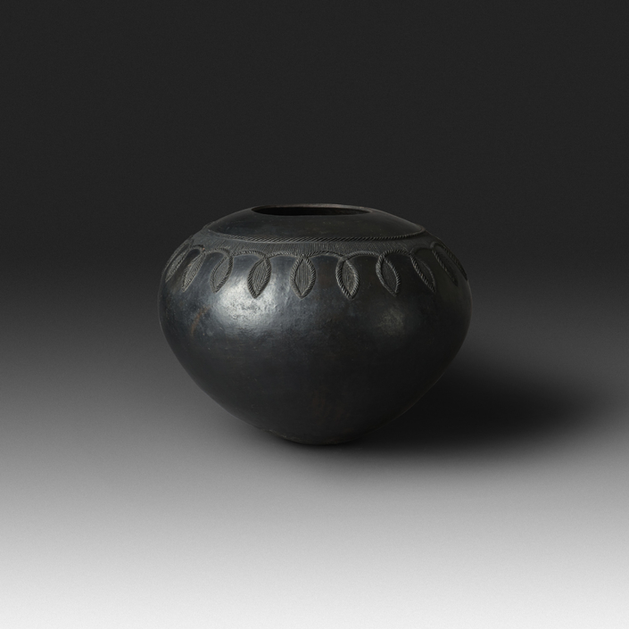 Mncane Nzuza - Ukhamba #105 (N2) (SOLD), ceremonial beer-serving vessel, pit-fired hand-built earthenware with burnished surface, 12 by 16 inches diameter