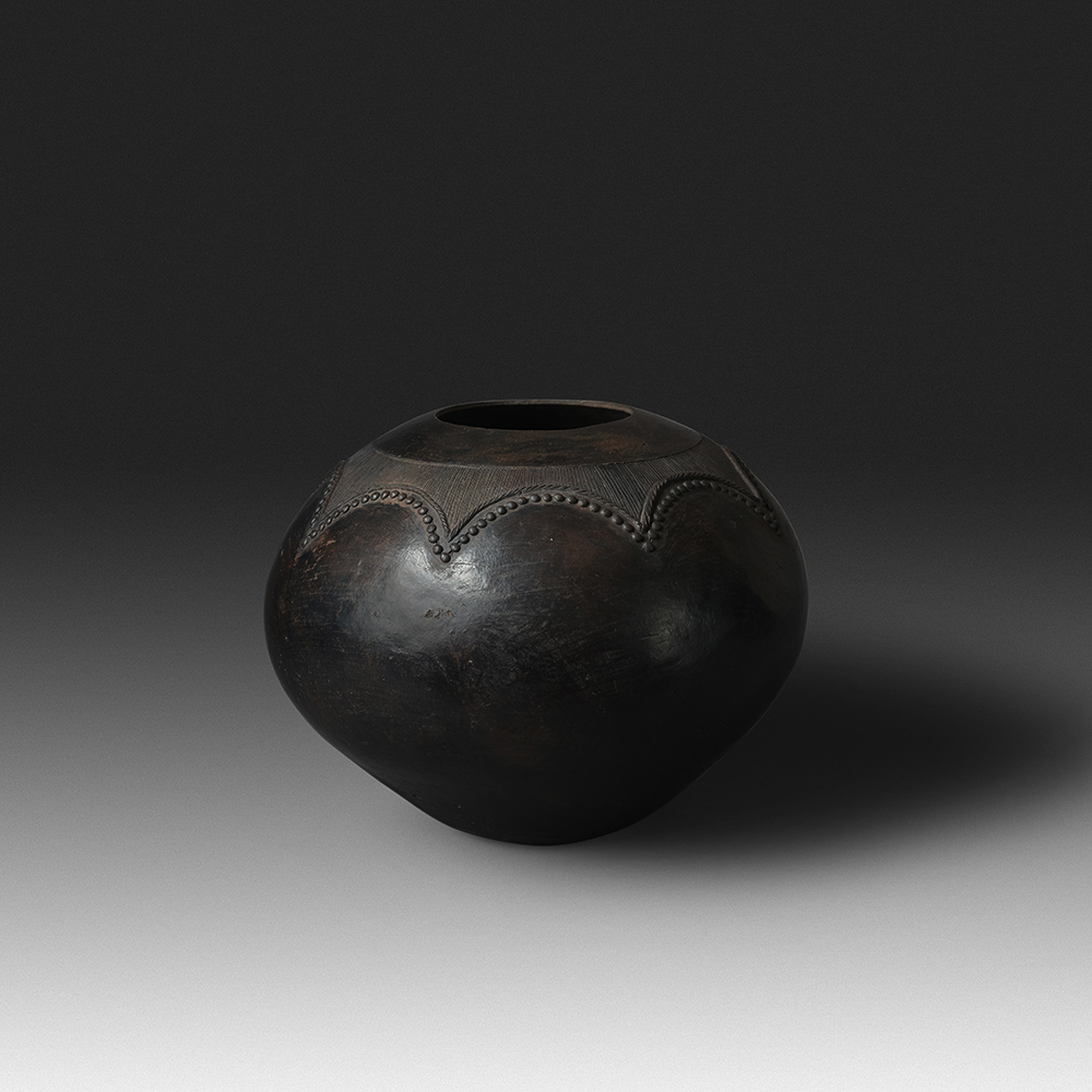 Mncane Nzuza - Ukhamba #106 (L1) (SOLD), ceremonial beer-serving vessel, pit-fired hand-built earthenware with burnished surface, 13 by 16.5 inches diameter