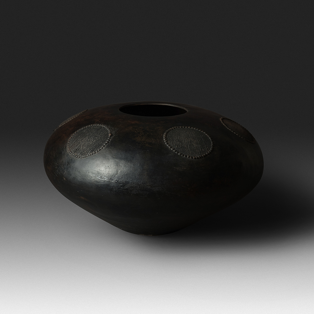 Mncane Nzuza - Ukhamba #108 (I1) (SOLD), ceremonial beer-serving vessel, pit-fired hand-built earthenware with burnished surface, 12 by 22 inches diameter