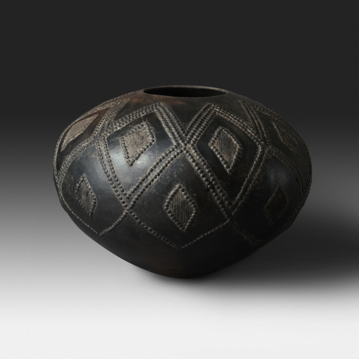 Mncane Nzuza - Ukhamba #110 (J1), ceremonial beer-serving vessel, pit-fired hand-built earthenware with burnished surface, 14.5 by 23.5 inches diameter