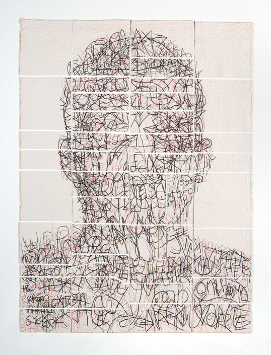Ben Durham - Kris (Graffiti Map), 2011, ink and graphite on cut handmade paper, 60 by 45 inches unframed