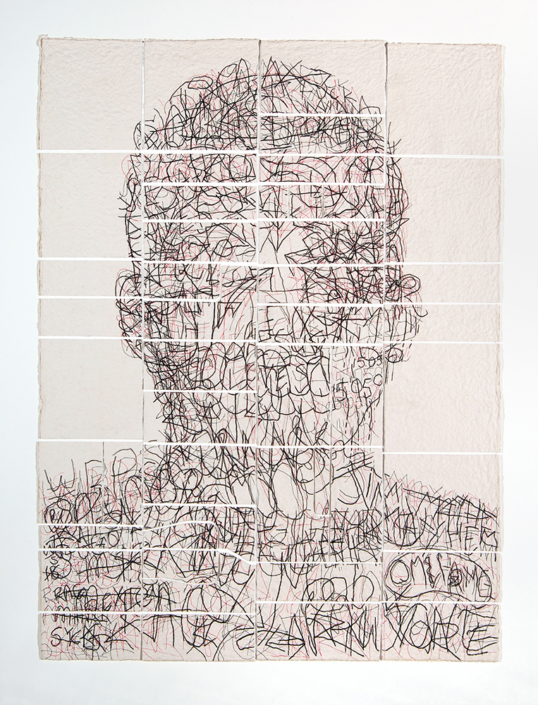 Ben Durham - Kris (Graffiti Map) (SOLD), 2011, ink and graphite on cut handmade paper, 70 x 53.3 inches framed