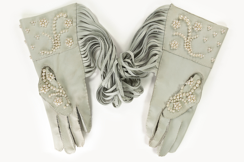 Mark Mitchell - Kid Gloves, 2020, goat leather, silk thread, cultured pearls, 13 by 21.5 by 2.5 inches
