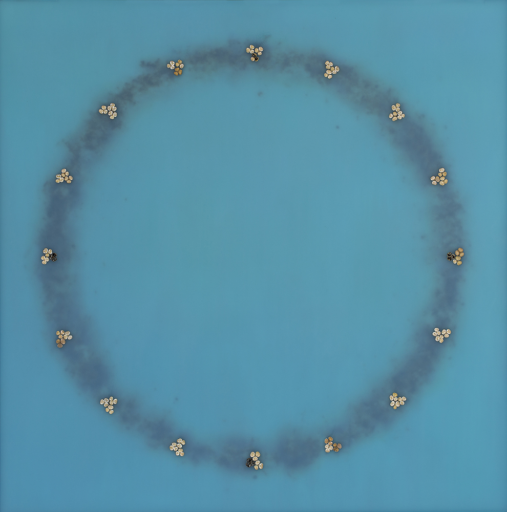 Mayme Kratz - Circle Dream 77, 2020, resin and Hesperaloe seeds on panel, 48 by 47.5 inches