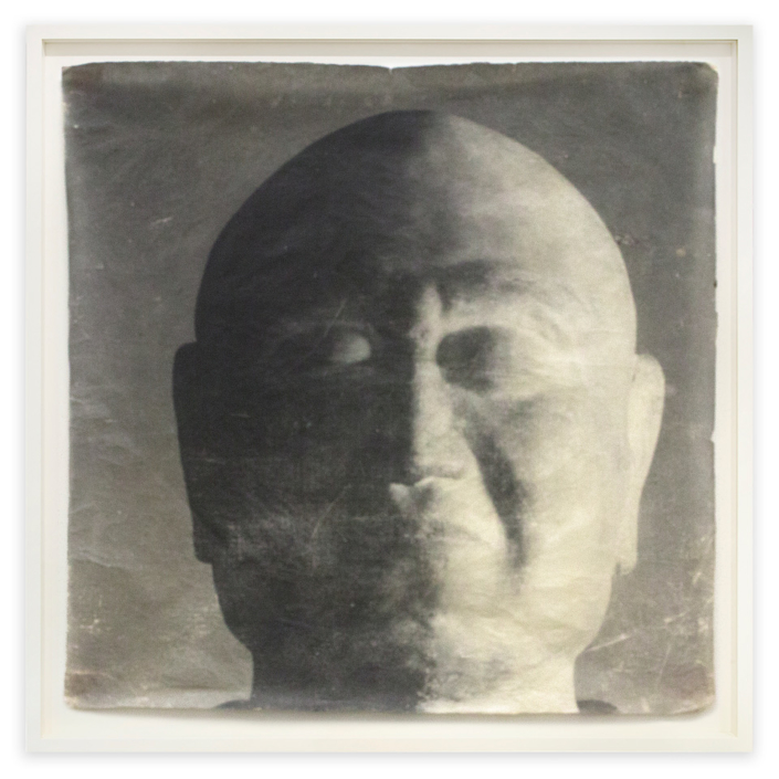 Doug & Mike Starn - Ganjin Head, 2000-2003, tea stained sulfur toned silver print on Thai mulberry paper, 34 by 34 inches framed