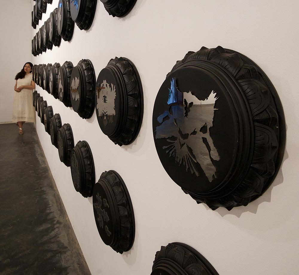 Siri Devi Khandavilli - Zero Point Field (Installation View), 2018, resin, steel, 14.5 inches in diameter each