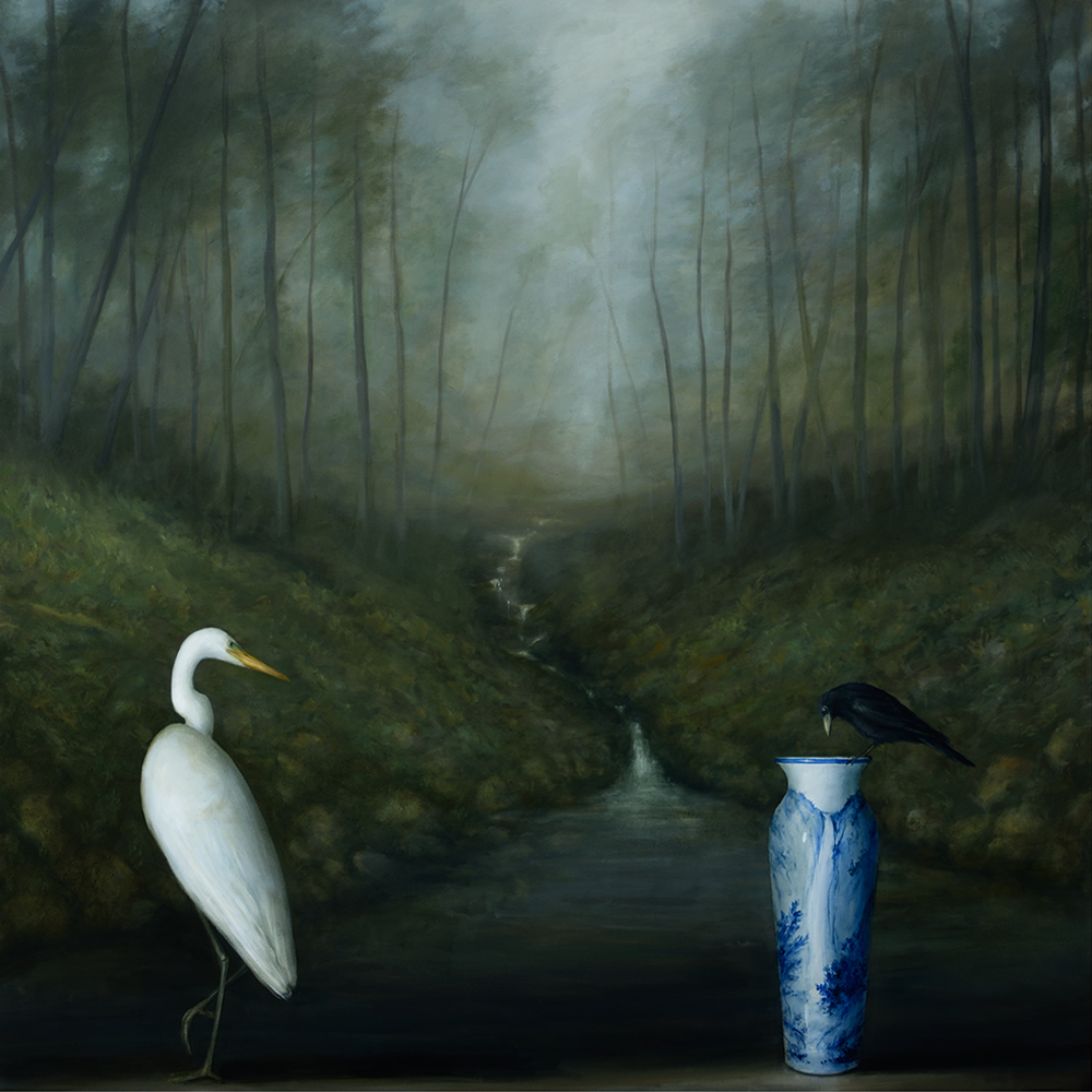 David Kroll - Woodland Landscape (Egret and Crow), 2020, oil on linen, 58 by 58 inches