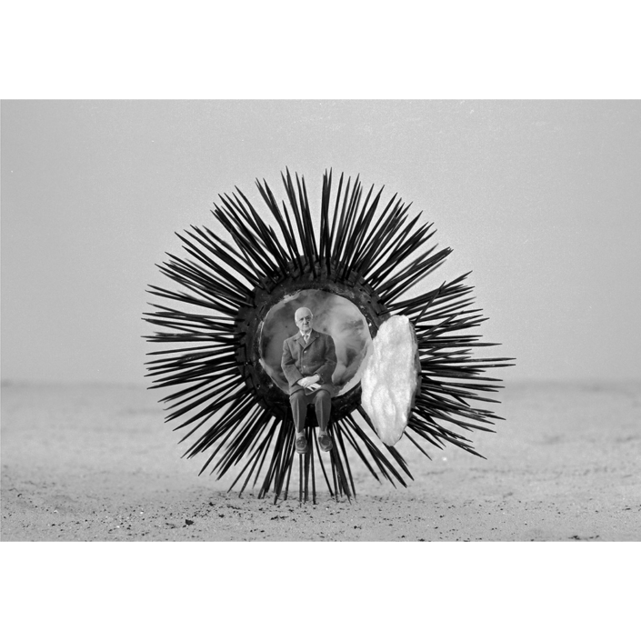 Gilbert Garcin - 198 - Precautions elementaires (Precautionary measures), 2002, gelatin silver print, 12 by 8 inches, 16 by 12 inches, or 24 by 20 inches