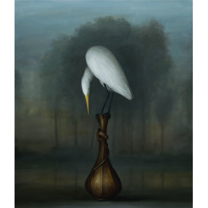 David Kroll - Landscape (Egret and Bronze Vase) (SOLD), 2020, oil on linen, 32 by 28 inches