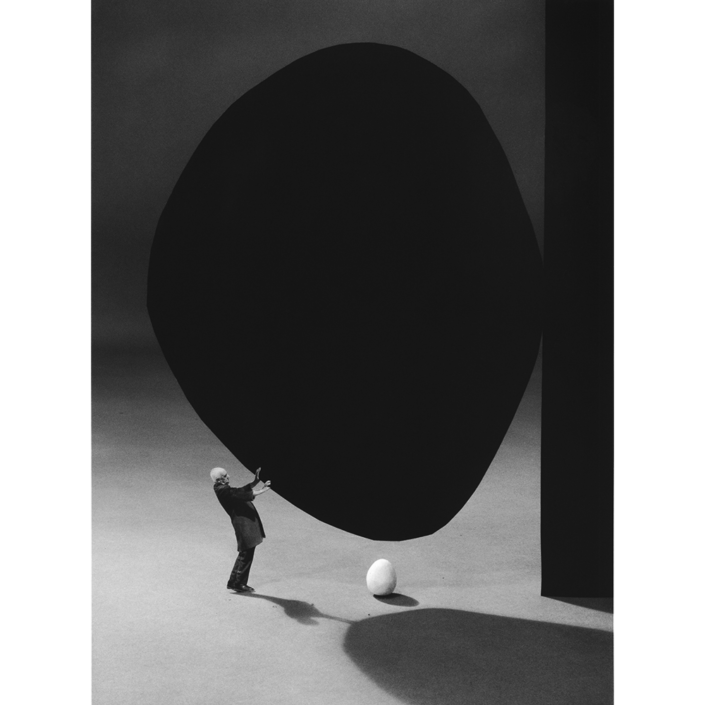 Gilbert Garcin - 300 - La precarite, d'apres Robert Motherwell (Precarity - after Robert Motherwell), 2005, gelatin silver print, 12 by 8 inches, 16 by 12 inches, or 24 by 20 inches