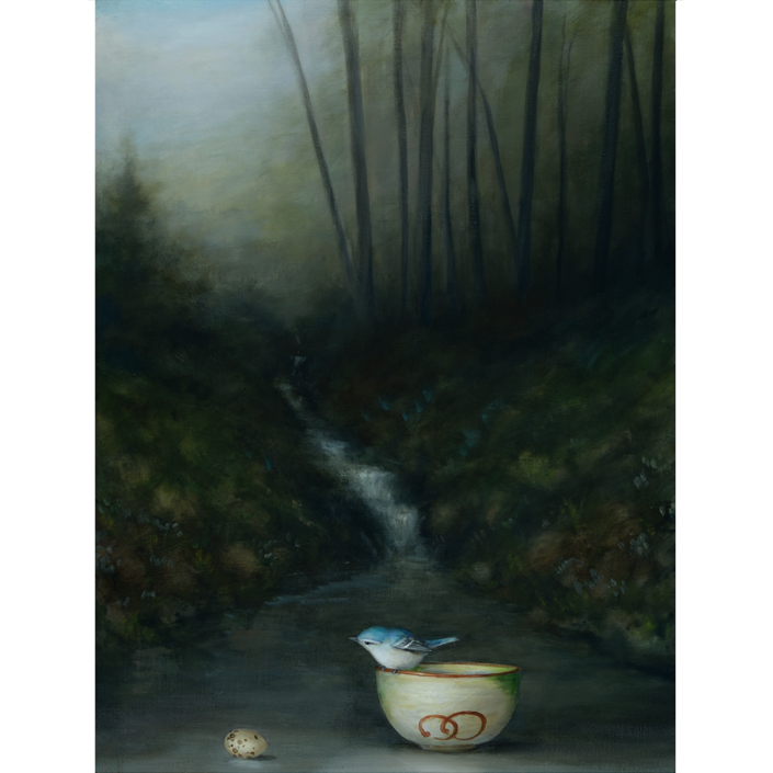 David Kroll - Woodland Landscape (Tea Bowl), 2020, oil on linen covered panel, 24 by 18 inches