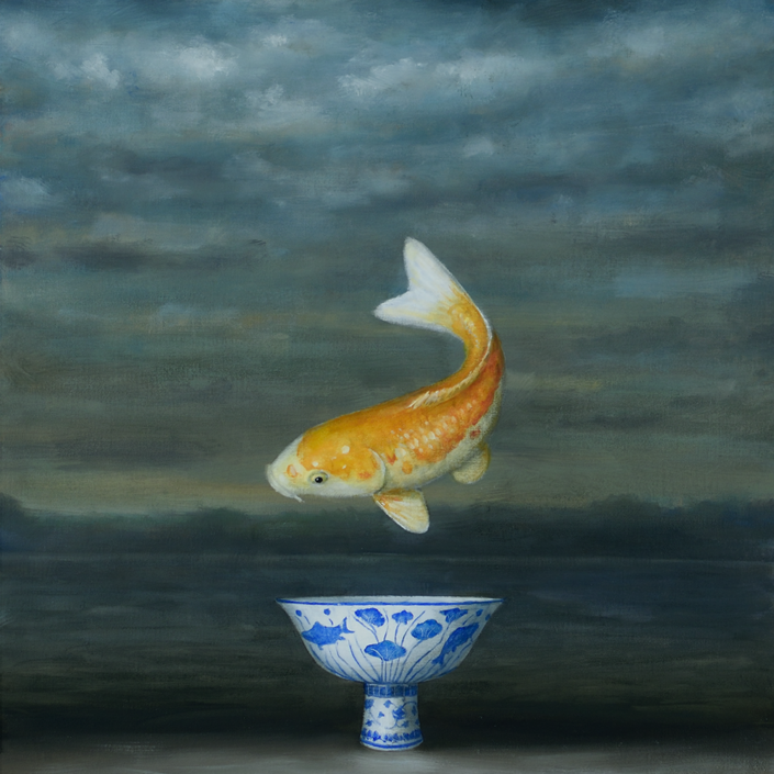 David Kroll - Seascape (Koi), 2020, oil on linen covered panel, 20 by 20 inches