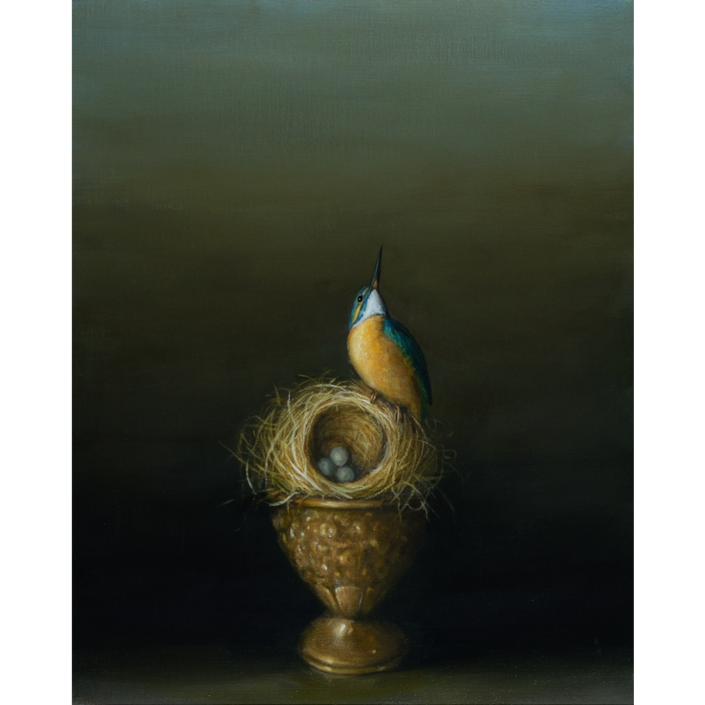 David Kroll - Still Life (Kingfisher) (SOLD), 2020, oil on linen covered panel, 20 by 16 inches