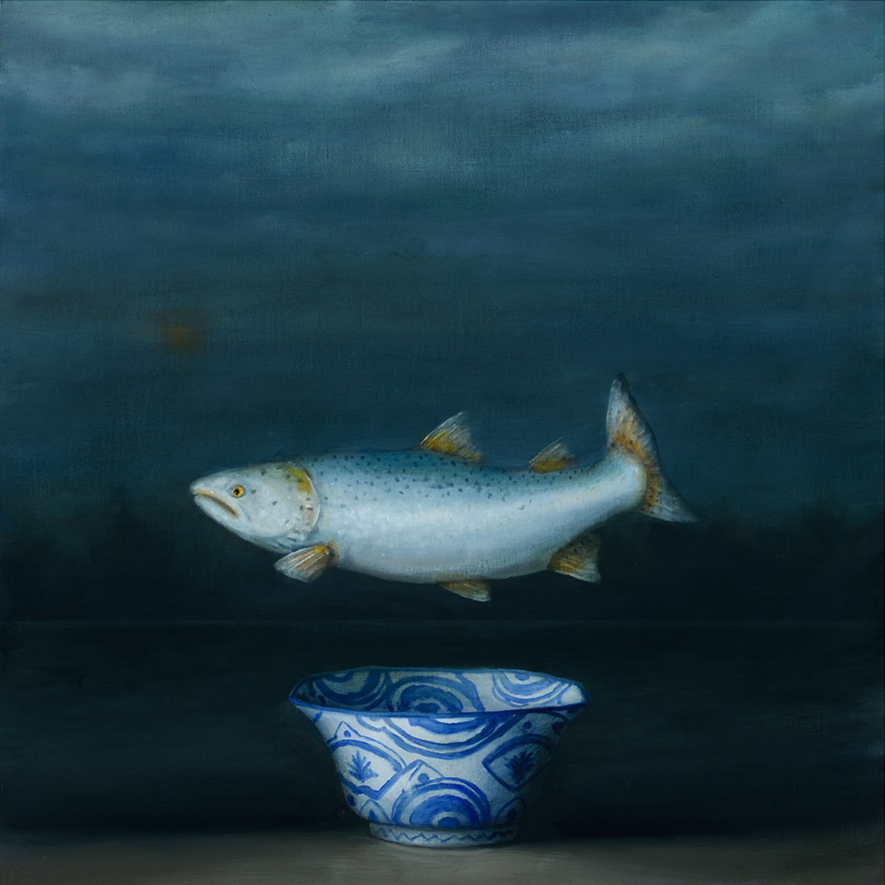 David Kroll - Seascape (Salmon), 2020, oil on linen covered panel, 20 by 20 inches