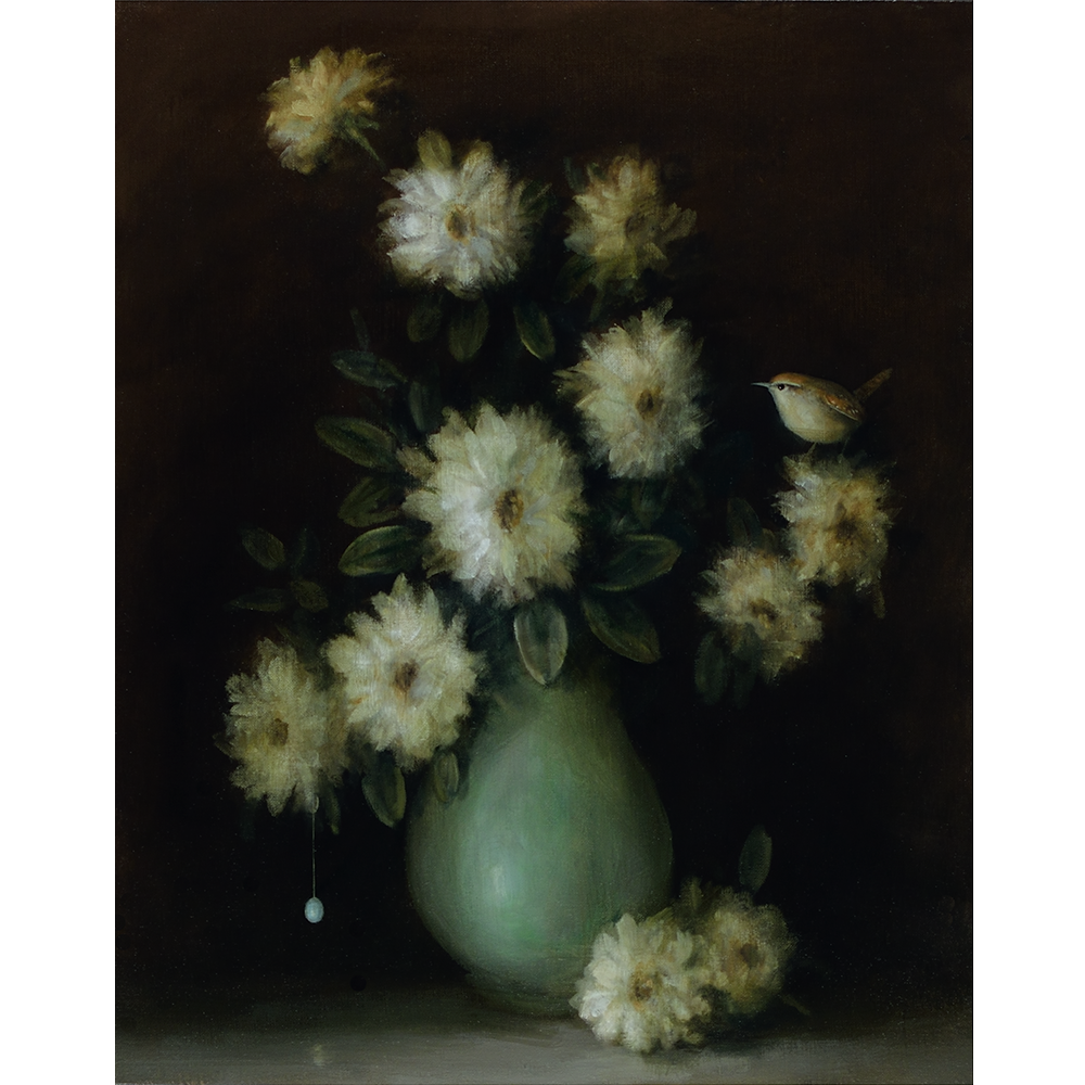 David Kroll - Floral Still Life (Wren and Vase), 2020, oil on linen covered panel, 20 by 16 inches